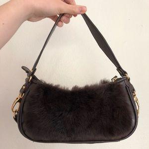 BCBG Vintage Faux Fur Brown Shoulder bag
